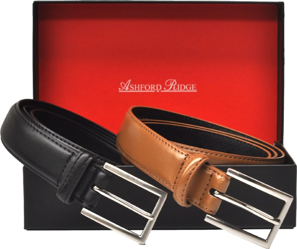 Ashford Ridge Gift Boxed 30mm Twin Belt Gift Set (Black & Tan)